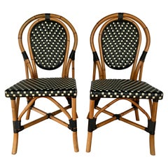 French Style Parisian Cafe Bistro Rattan Dining Chairs, Pair