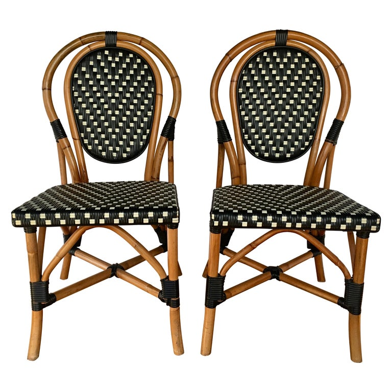 French Style Parisian Cafe Bistro Rattan Dining Chairs ...