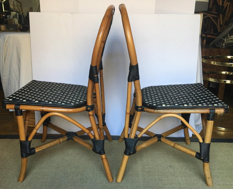French Style Parisian Cafe Bistro Rattan Dining Chairs, Set of Two In Good Condition For Sale In Lambertville, NJ