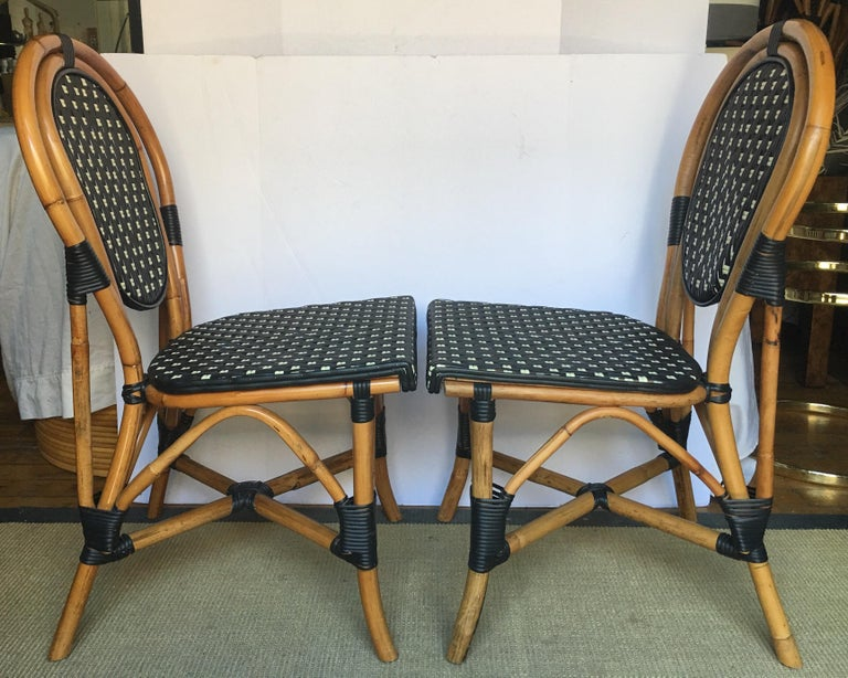 Contemporary French Style Parisian Cafe Bistro Rattan Dining Chairs, Set of Two For Sale