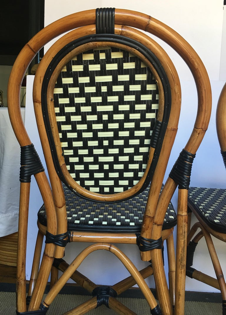 French Style Parisian Cafe Bistro Rattan Dining Chairs, Set of Two For Sale 3