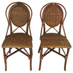 French Style Parisian Cafe Rattan Dining Chairs, Set of 4
