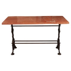 French Style Red Marble Bistro Table