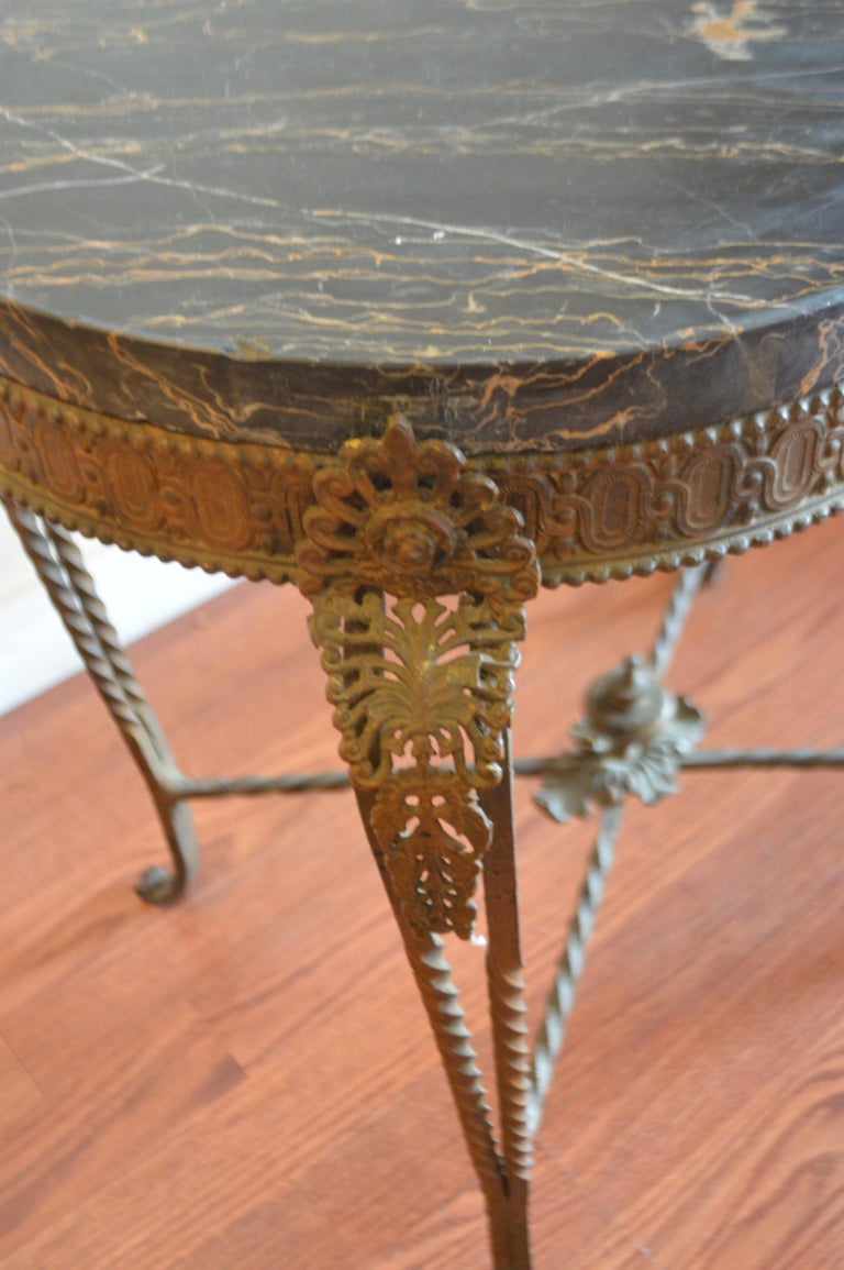 French Style Rustic Wrought Iron Oval Garden Side Table