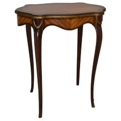 French Style Satinwood & Mahogany Side Table Applied Brass Trim