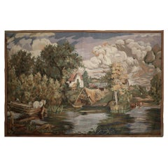 French Style Scenic Tapestry Handwoven Traditional Wool Wall Hanging