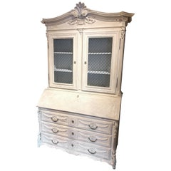 French Style Whitewashed Carved Oak Secretary
