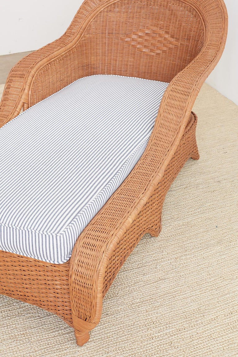 French Style Wicker Chaise Longue With Waverly Ticking
