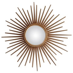 French Sun Convex Miroir Gold by Chaty Vallauris 1950s