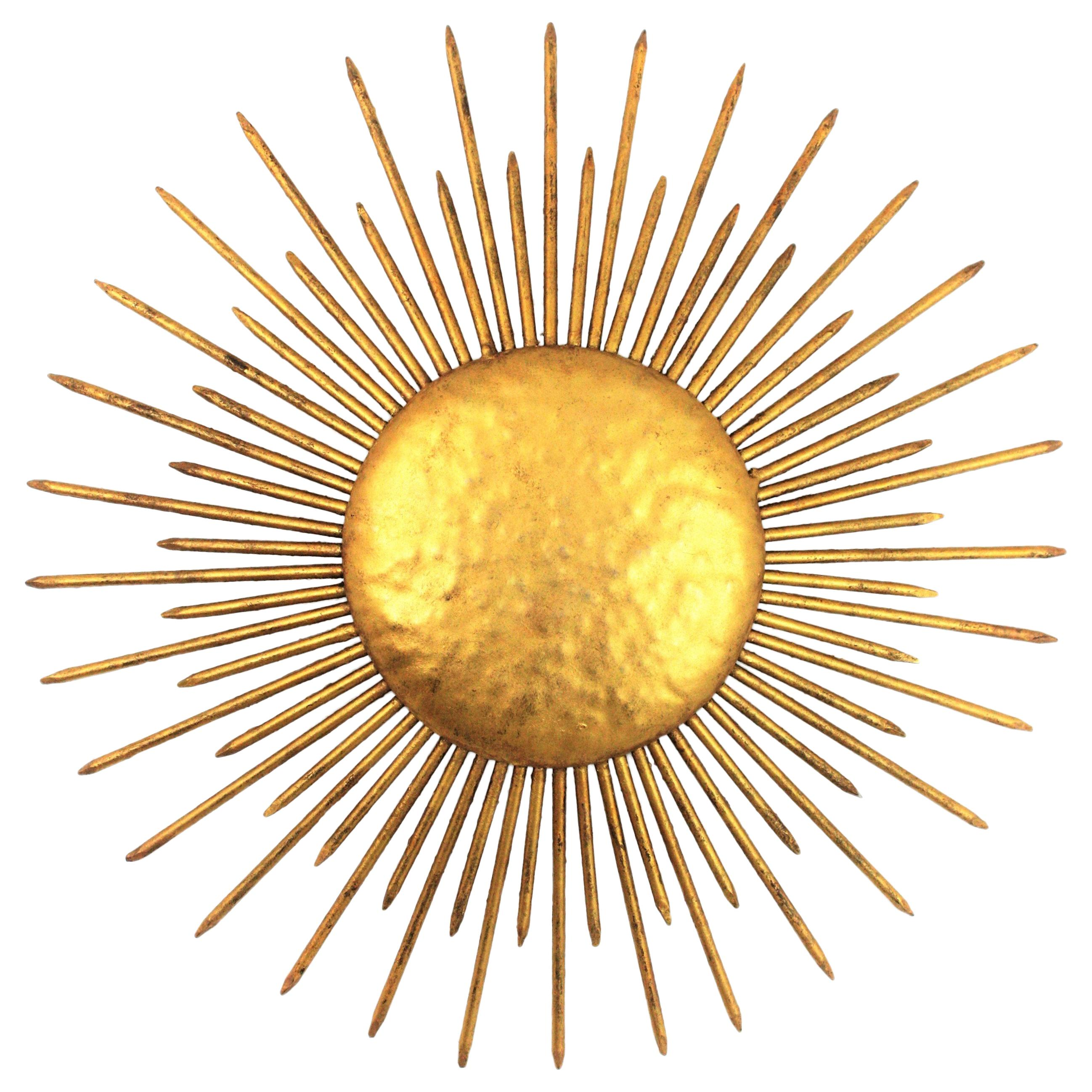 French Sunburst Ceiling Flush Mount or Wall Light, Gilt Iron and Nail Details