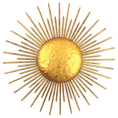 French Sunburst Ceiling Flushmount or Wall Light, Gilt Iron and Nail Details