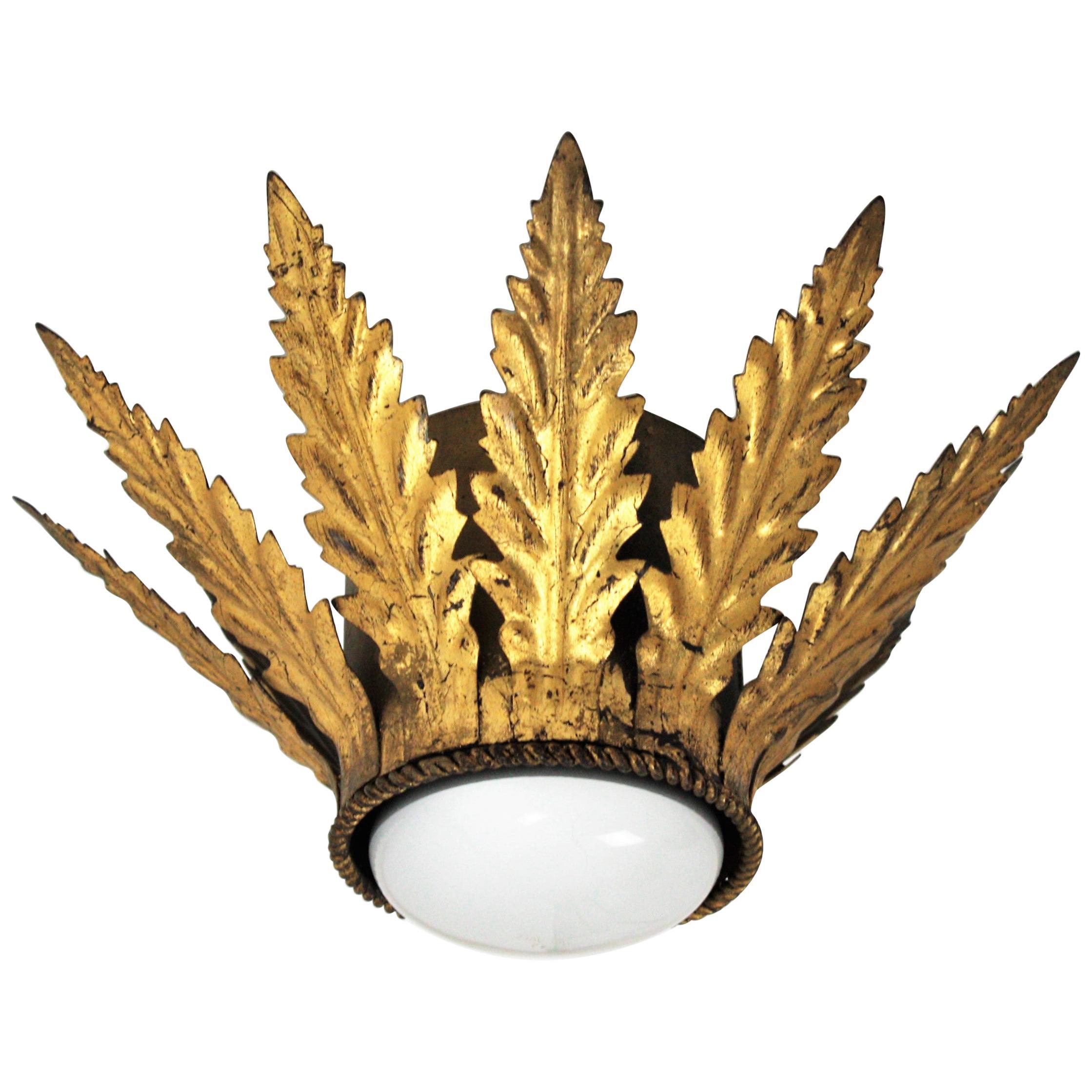 French Sunburst Crown Foliate Flush Mount Light Fixture, 1940s