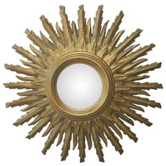 French Sunburst Double Layered Gilded Mirror, circa 1950