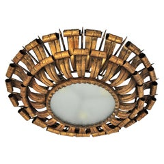 French Sunburst Eyelash and Nail Flush Mount Light Fixture in Gilt Wrought Iron