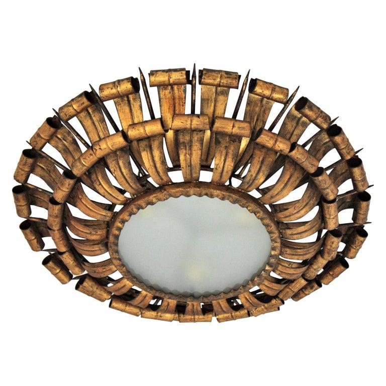 French Sunburst Eyelash and Nail Flush Mount Light Fixture in Gilt Wrought Iron For Sale