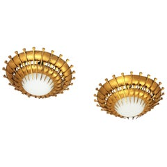 French Sunburst Gilt Iron and Milk Glass Light Fixtures with Nails Design, Pair