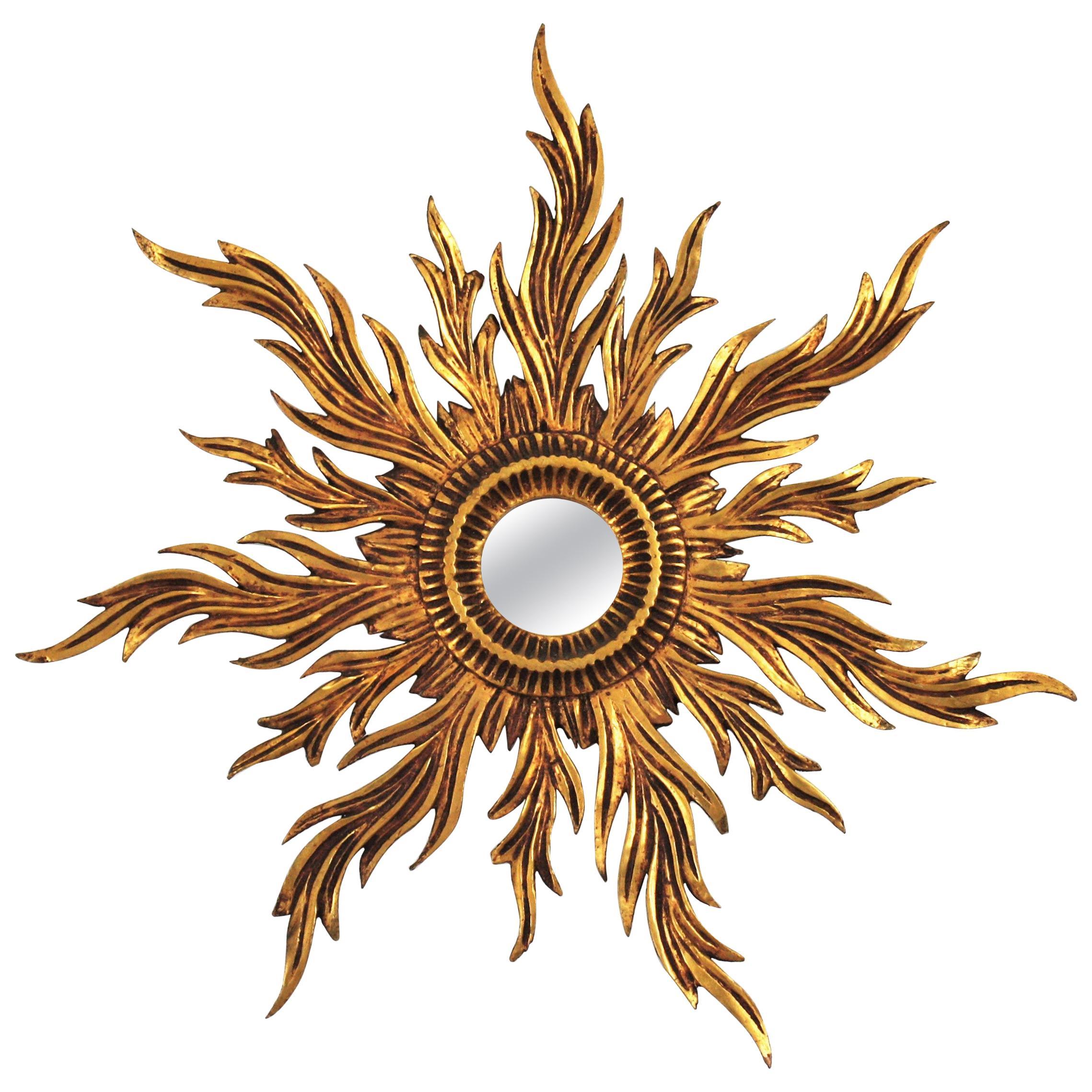 French Sunburst Giltwood Mirror, Early 20th Century