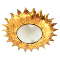 French Sunburst Light Fixture in Gilt Iron with Frosted Glass, 1950s