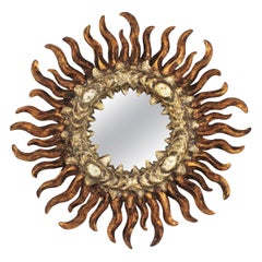 French Sunburst Mirror in Giltwood and Silver, Baroque Style, 1930s