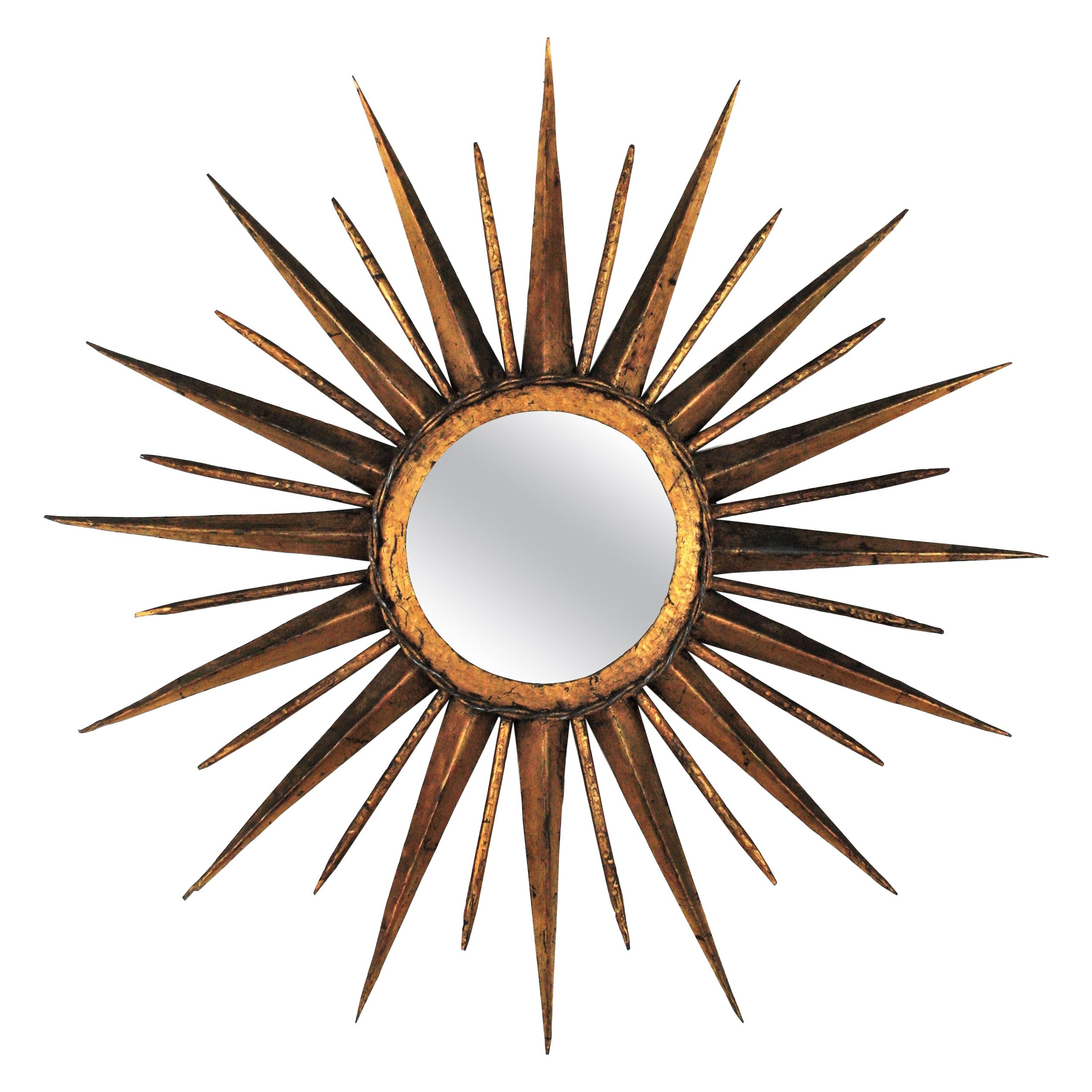 French Sunburst Starburst Mirror in Gilt Iron, Gilbert Poillerat Style