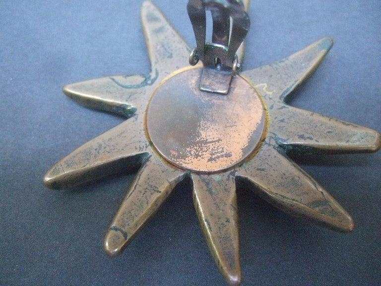 French Surrealist Designer Bronze Sunburst Clip on Eye Themed Earrings c 1980 For Sale 5