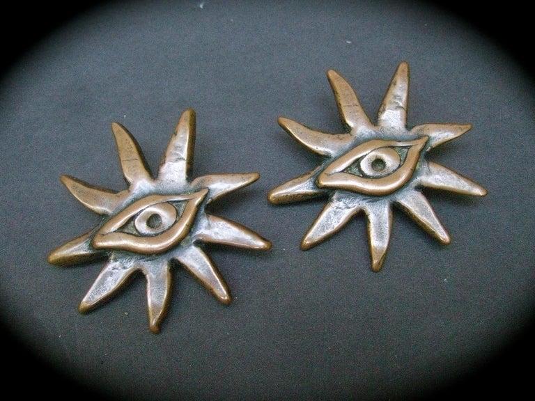 Artisan French Surrealist Designer Bronze Sunburst Clip on Eye Themed Earrings c 1980 For Sale