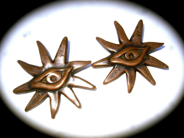 Women's French Surrealist Designer Bronze Sunburst Clip on Eye Themed Earrings c 1980 For Sale