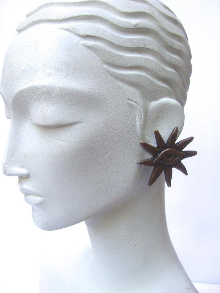 French Surrealist Designer Bronze Sunburst Clip on Eye Themed Earrings c 1980 For Sale 1