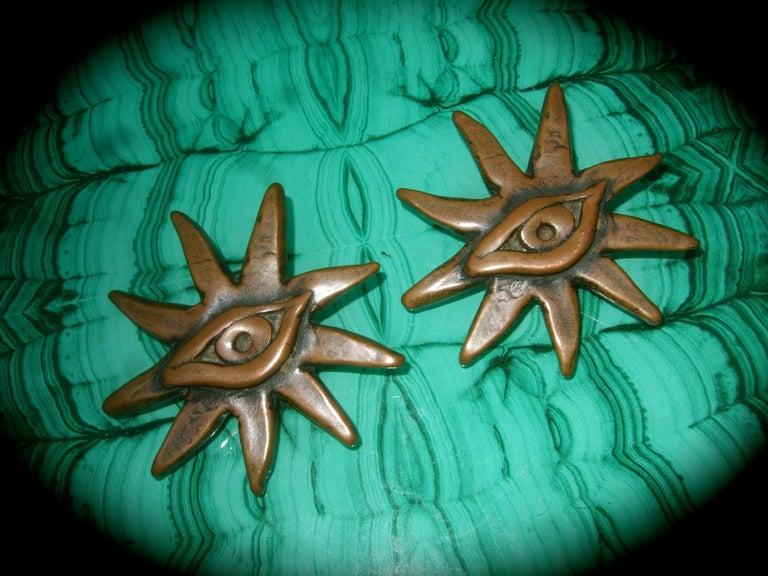 French Surrealist Designer Bronze Sunburst Clip on Eye Themed Earrings c 1980 For Sale 2
