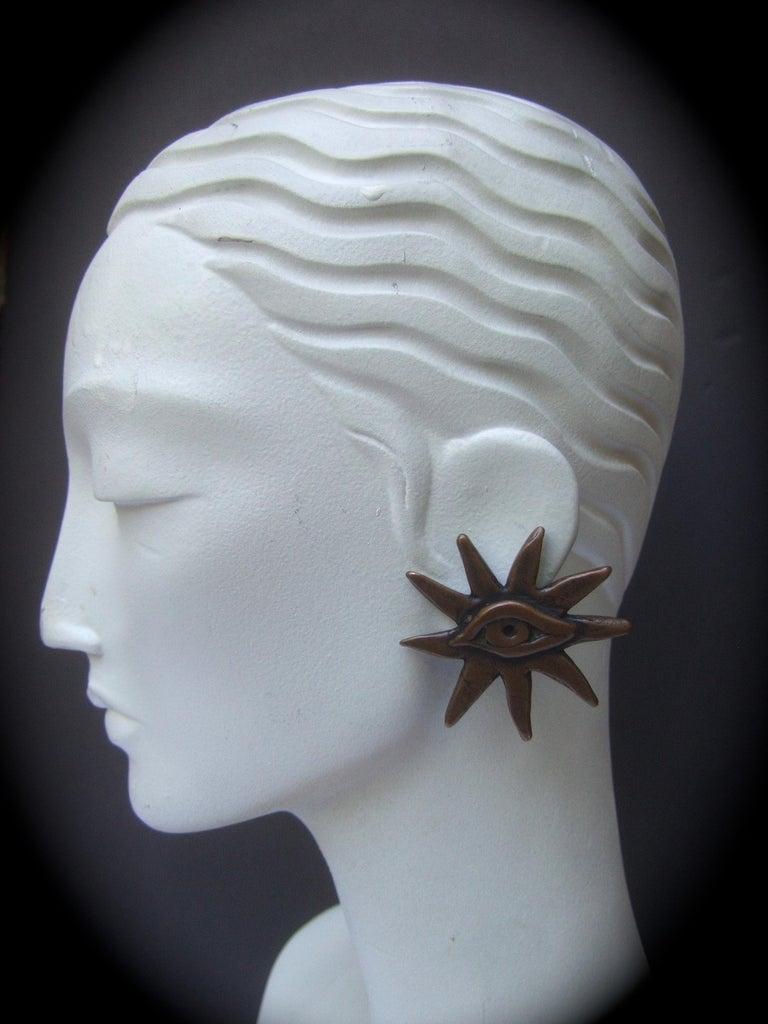 French Surrealist Designer Bronze Sunburst Clip on Eye Themed Earrings c 1980 For Sale 3