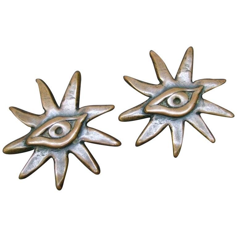 French Surrealist Designer Bronze Sunburst Clip on Eye Themed Earrings c 1980 For Sale