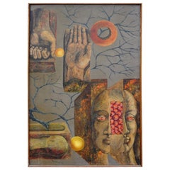 French Surrealist Oil Painting Signed Jamotte, 1964