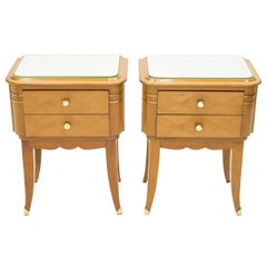 French Sycamore Brass Nightstands 2 Drawers by Jean Pascaud, 1940s
