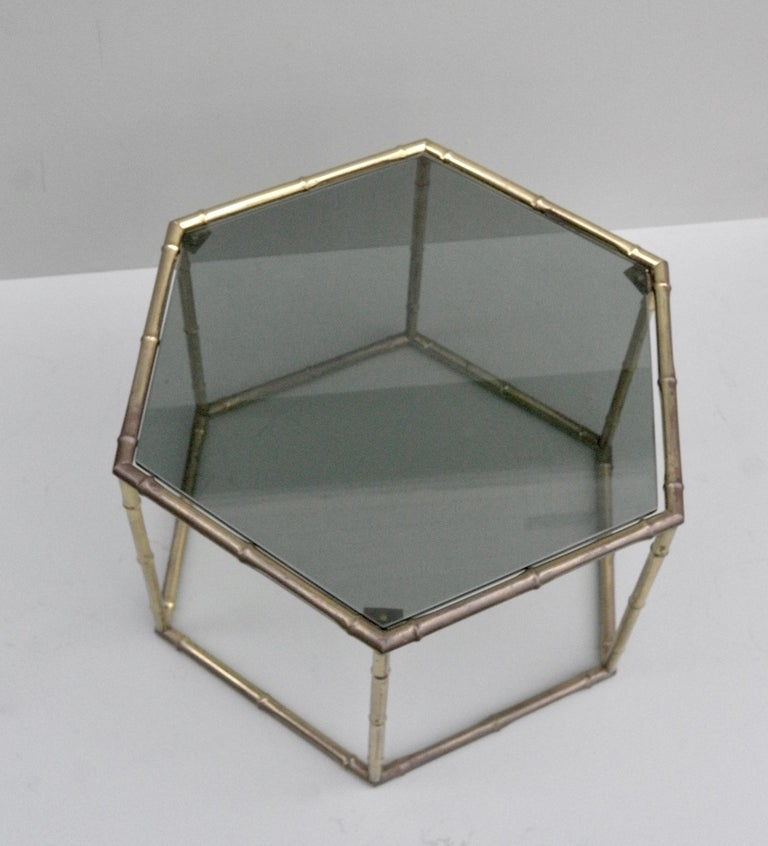 French Symmetrical Gold Metal Bamboo Side Table with Dark Glass Top For Sale 5