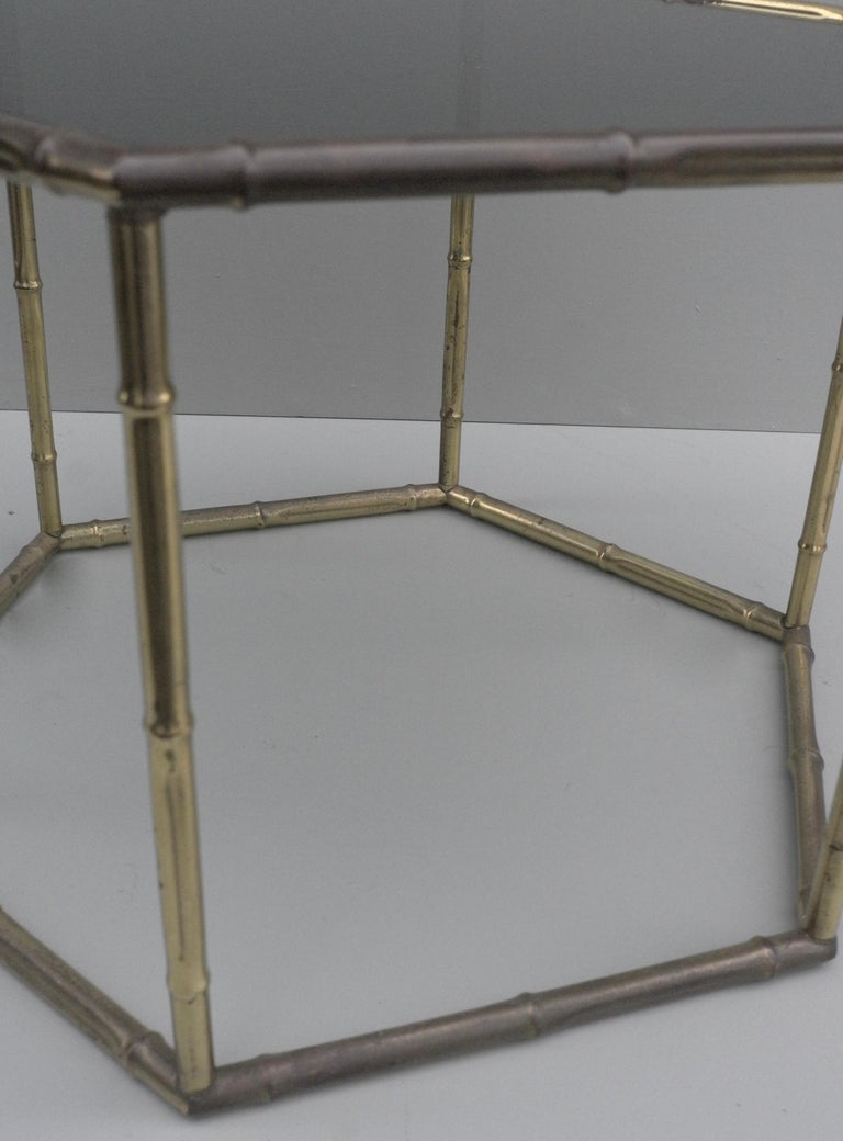 Mid-Century Modern French Symmetrical Gold Metal Bamboo Side Table with Dark Glass Top For Sale