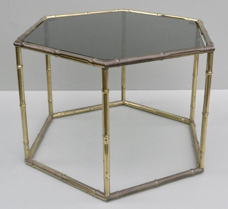 Mid-20th Century French Symmetrical Gold Metal Bamboo Side Table with Dark Glass Top For Sale