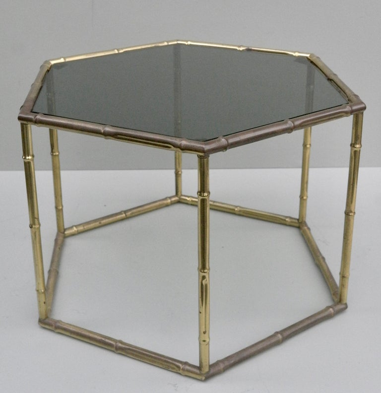French Symmetrical Gold Metal Bamboo Side Table with Dark Glass Top For Sale 1