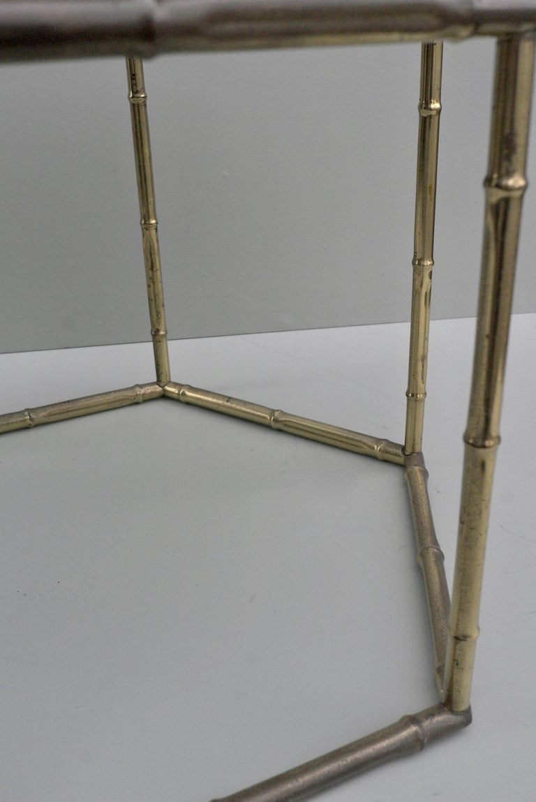 French Symmetrical Gold Metal Bamboo Side Table with Dark Glass Top For Sale 2