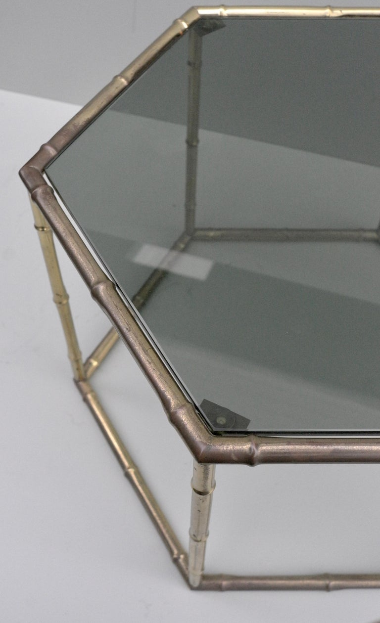 French Symmetrical Gold Metal Bamboo Side Table with Dark Glass Top For Sale 3