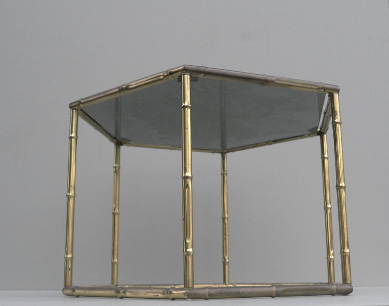 French Symmetrical Gold Metal Bamboo Side Table with Dark Glass Top For Sale 4