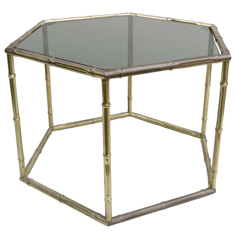 French Symmetrical Gold Metal Bamboo Side Table with Dark Glass Top For Sale