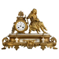 French Table Clock 19th Century Bronze