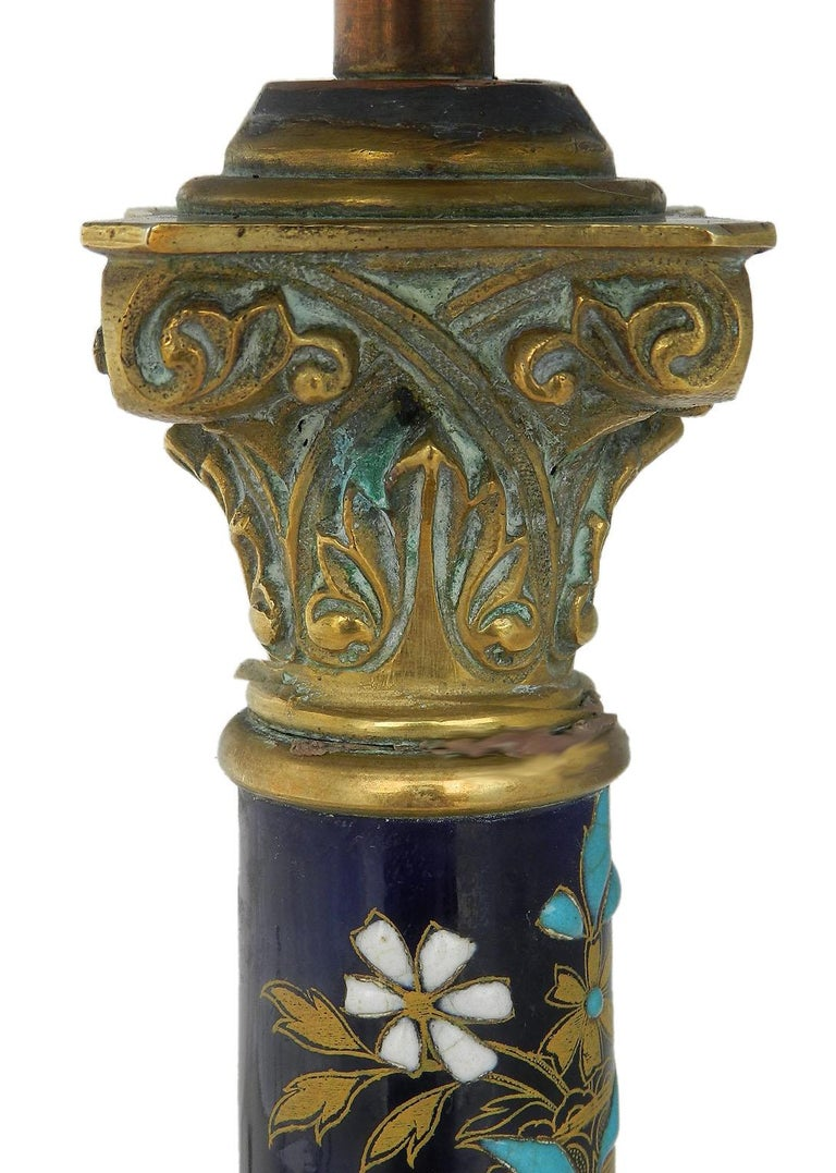 French table lamp enamel and bronze Corinthian column, circa 1900