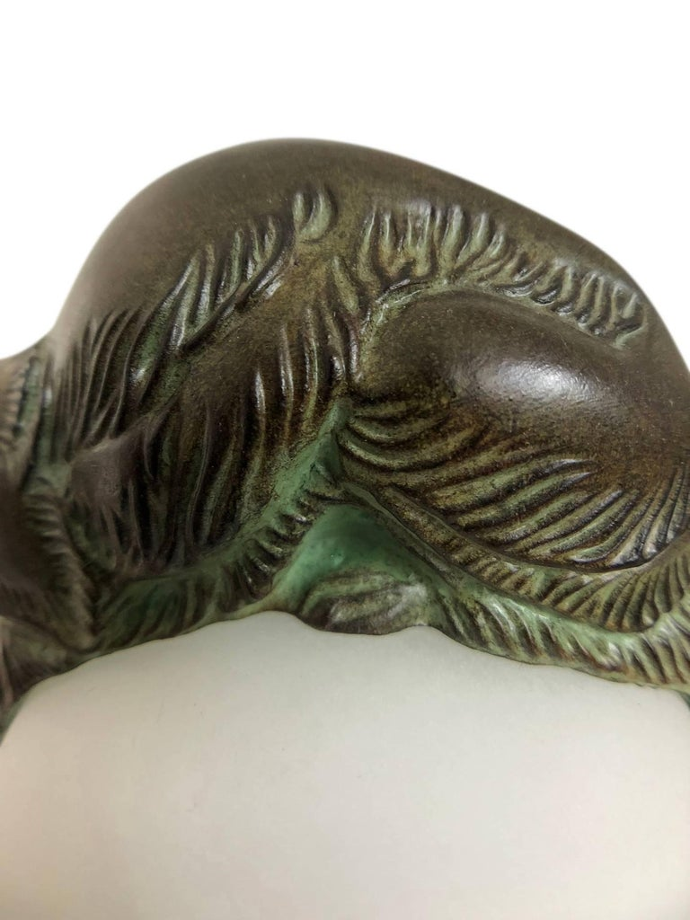 French Table Lamp Equilibre a Cat on a Glass Ball by Gaillard for Max Le Verrier In Excellent Condition For Sale In Baden-Baden, DE