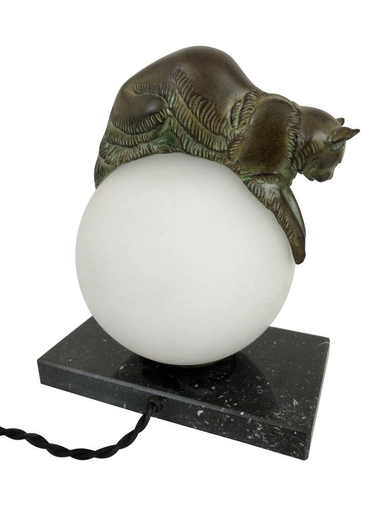 French Table Lamp Equilibre a Cat on a Glass Ball by Gaillard for Max Le Verrier For Sale 1
