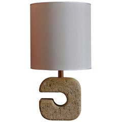 French Table Lamp in Sandstone of the 1970s
