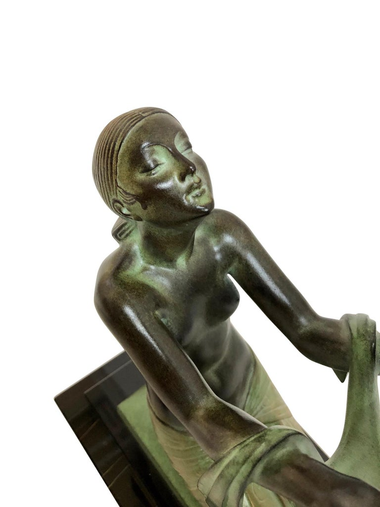 Art Deco French Table Lamp Offrande, Sculpture by Fayral, Original Max Le Verrier For Sale
