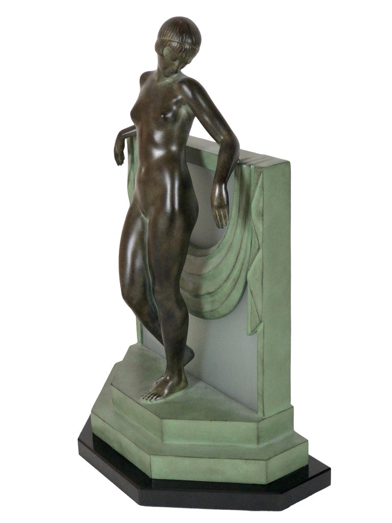 Art Deco French Table Lamp Serenite Sculpture by Fayral Original Max Le Verrier For Sale