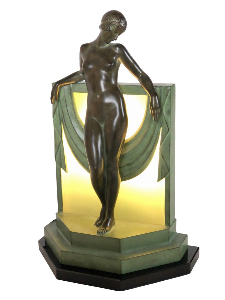 French Table Lamp Serenite Sculpture by Fayral Original Max Le Verrier In Excellent Condition For Sale In Baden-Baden, DE