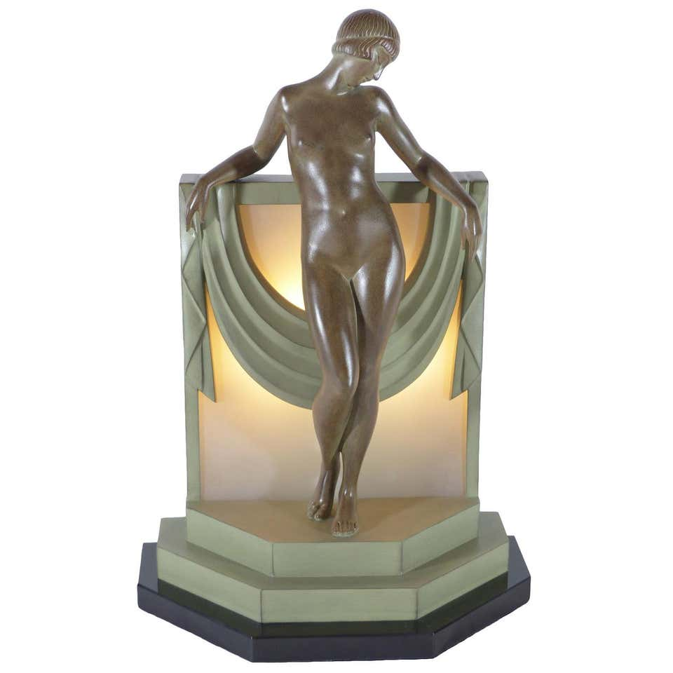 20th Century French Woman Bronze Sculpture Signed by